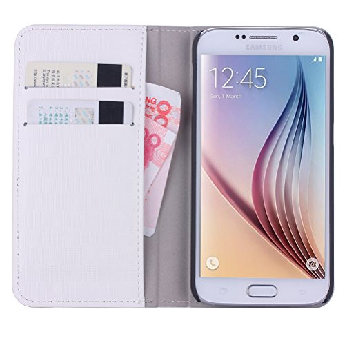 WAWO Samsung Galaxy S6 Case, PU Leather Wallet Flip Cover Case with Credit Card ID/Pocket Money Slot for Samsung Galaxy S6 - White