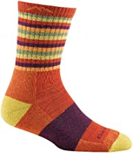 Darn Tough Vermont Women's Merino Wool Micro Crew Cushion Socks, Tomato Stripe, Small