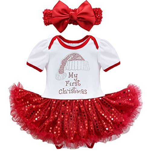 YiZYiF Girls Headband Romper Jumpsuit Party Dress Baby Outfits Tutu Clothing (6-9 Months, Red First Xmas)