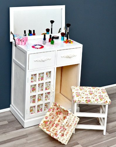 Vanity dressing table dressing table in the rustic house antique style dresser in white with mirror, stool and matching basket
