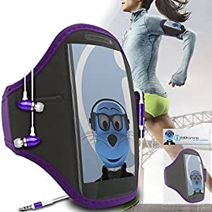 Purple Black Adjustable Sports GYM Jogging Running ArmBand Case Cover with 3.5mm Aluminium Headphones For Alcatel One Touch M'Pop