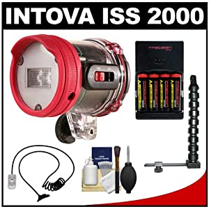 Intova ISS 2000 Underwater Slave Flash with Arm and Mounting Bracket, Fiber Optic Cable, AA Batteries, Charger and Cleaning Kit