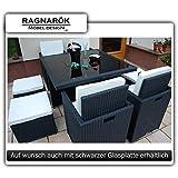 Gartenmöbel PolyRattan Essgruppe Tisch mit 4 x Stuhl & 4 Hocker DEUTSCHE MARKE -- EIGNENE PRODUKTION Garten Möbel incl. Glas und Sitzkissen Ragnarök Möbeldesign schwarz Rattan
