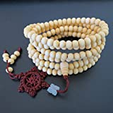 6mm*216 Buddha Unpolished White Sandalwood Wheel Prayer Beads Buddhist Sutra Bracelet Necklace