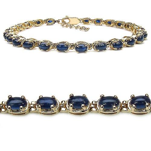 9.50 Carat Genuine Blue Sapphire 14K Gold Plated Sterling Silver Bracelet