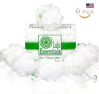 Premium Quality Loofah (6 Pack) Snow White Puffs by Lulu Essentials :: Lulu Luffas are Designed Better to Last Longer than the average Shower and Bath Sponge, Mesh Poufs, Body Loofa or whatever you like to call them...
