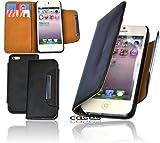 Exklusive Book Style PU Leder Handytasche f�r das iPhone 5 / iPhone 5S Etui Cover Case Schutzh�lle mit EC-/Kreditkarten F�cher in schwarz/ black - bi-color