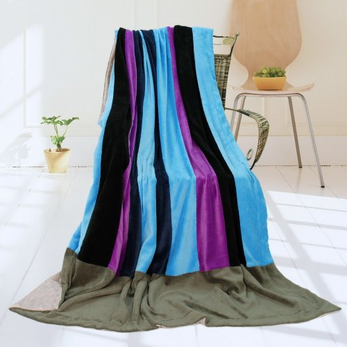 Onitiva - [Pattaya Beach] Soft Coral Fleece Patchwork Throw Blanket (59 By 78.7 Inches) front-551463