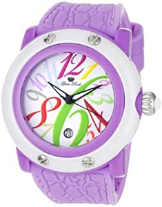 Glam Rock Women's GR25005 Crazy Sexy Cool White Dial with Multi-Colored Numerals Lilac Silicone Watch