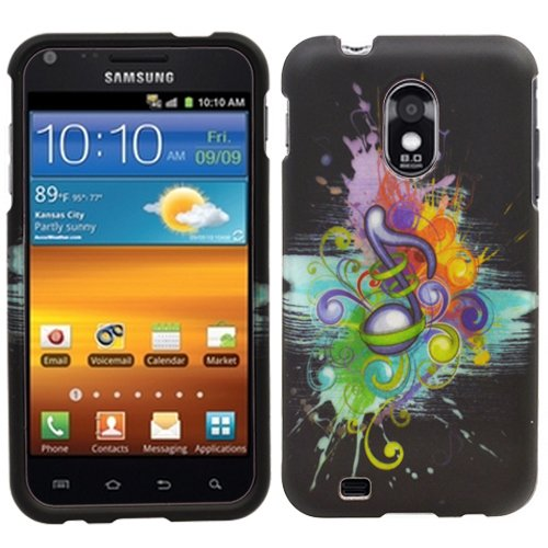 Colorful Music Symbol Splash Paint Rubberized Coating Hard Case Cover for Samsung Galaxy S2 SII Epic Touch 4g D710 + Screen Protector Film + Black Jaw Stand -Best Deals And Discounts