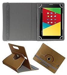 Acm Designer Rotating 360° Leather Flip Case For Mercury M830g Tablet Stand Premium Cover Golden