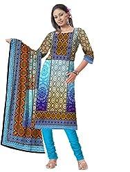 BalajiWomen's Crepe Unstitched dress material(108-multicolor-free size)