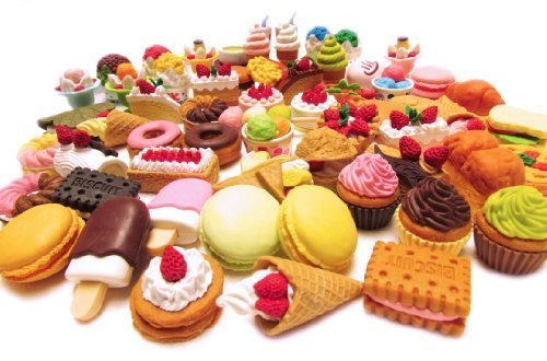 10 of Assorted FOOD CAKE DESSERT Japanese Erasers IWAKO (10 erasers will be randomly selected from the image shown) (American Girl Food compare prices)