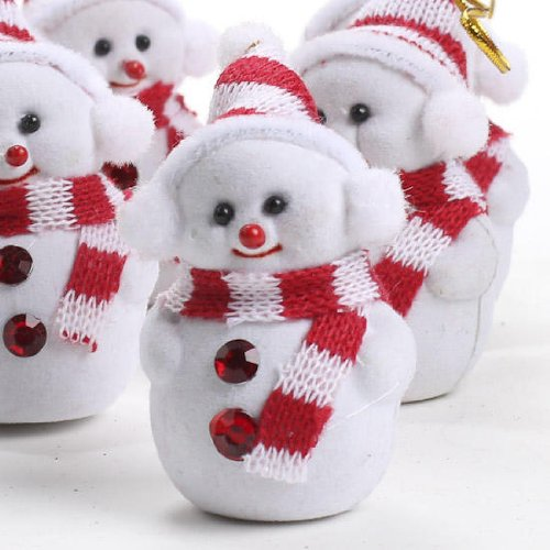 Package of 12 Red Gem Accented Flocked Snowman Miniature Ornaments