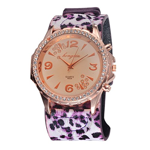 Modern Distinctive Creative Colorful Leopard Strap Ladies Wrist Watches Gift Leopard Print With Purple
