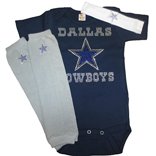 FanGarb Dallas Cowboys Crystal Short Sleeve Outfit (Navy Onesie Headband Leggings)