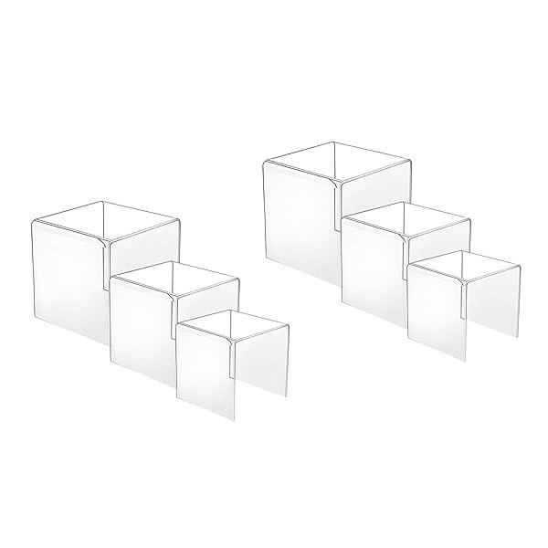"HESIN Clear Acrylic Display Risers Set of 3 Racks 3/"" 4/"" 5/"" Shop Retail Cake"