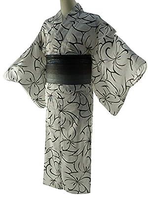 女性用 浴衣 2点セット お仕立て上がりゆかたホワイト ラメ帯ブラック 【SFS-04】