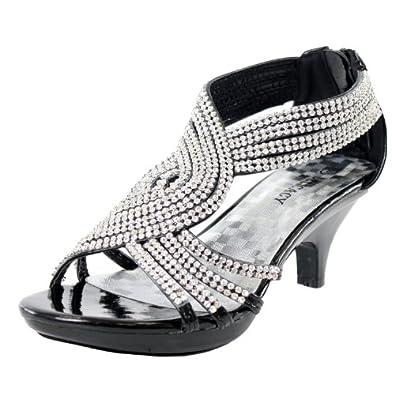 8c8e0da0a2b3 JJF Shoes Angel37 Strappy Rhinestone Dress Sandal Low Heel Shoes