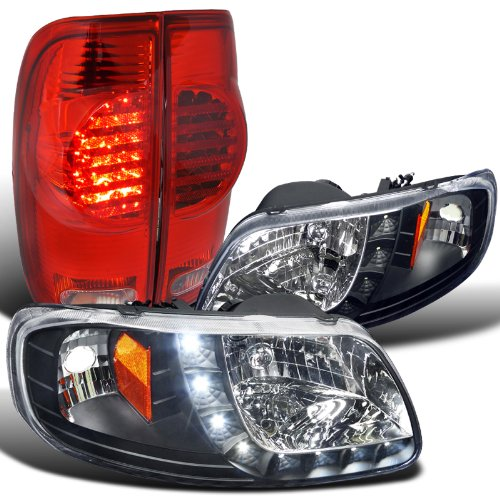 Ford F150 Smd Drl Black Headlights+Red Led Tail Brake Lamps