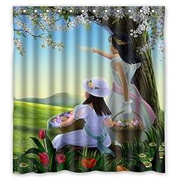 100% Polyester Waterproof Cartoon Cute Girls In Beautiful Scenery Shower Curtain 66\