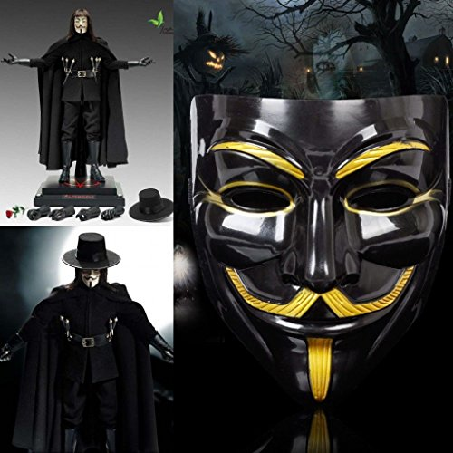 [V for Vendetta Guy Fawkes Masks Anonymous Halloween Cosplay Dress Costumes Scary] (666 Halloween Costume)