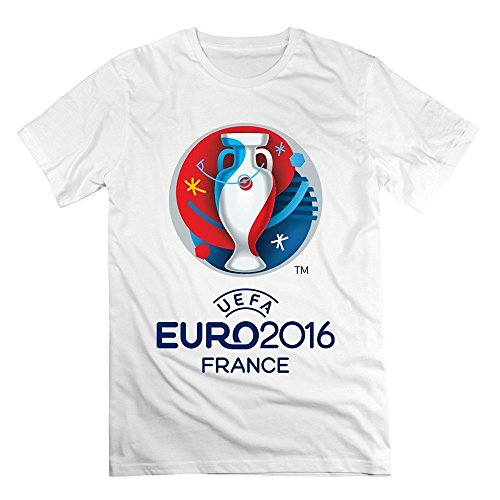 YIYT Men's Uefa Euro FIFA 2016 France Champion Cup Logo T-shirt - XXL White