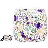 Elvam Purple Flower Floral PU Leather Fujifilm Instax Mini 8 / Mini 8+ Instant Film Camera Case Bag w/ a Removable Bag Strap
