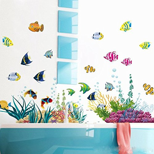 Amaonm® Removable DIY Under the Sea Wall Decals Blue Grass and Fish Coral Wall Mural Multicolored Wall Stickers Murals Home Art Decor For Kids Room Girls Bedroom Playroom Nursery Room Wall Concer (Coral Wall Decals compare prices)