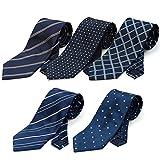 (スミスアンドスコット) Smith & Scott 全24パターン 洗濯 出来る ポリ ウォッシャブル ネクタイ 5本 セット 無地 ストライプ 小紋 チェック ドット 柄 ビジネス ブランド ネクタイ タイプ1