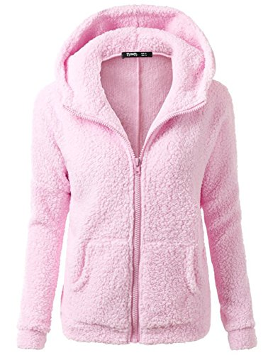 bellylady-womens-concise-long-sleeve-hooded-zip-pocket-hoodie-woollen-sweater-coat-pink-l