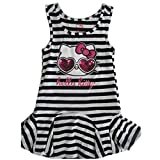 Hello Kitty Little Girls Black White Striped Applique Gown