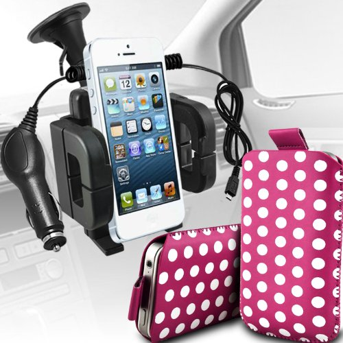 Review:  Sony Xperia S Lt26i Premium Protective Polka PU Leather Pull Tab Cord Slip In Pouch Pocket Skin Cover Quick With 12v Micro USB in Car Charger & Universal Suction Vent Windscreen Car Holder Cradle Hot Pink & White by Spyrox