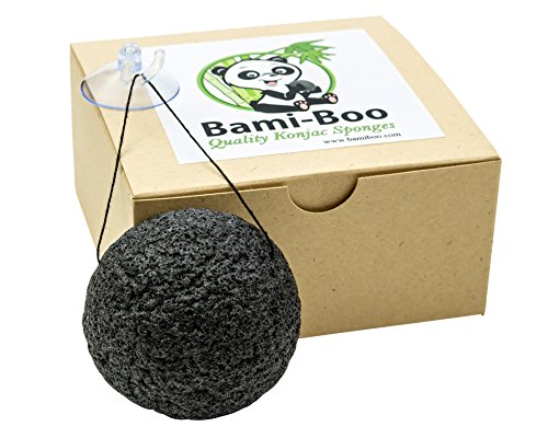 Black Konjac Sponge With Activated Charcoal - Facial Cleanser - All Natural Fiber - Environmentally Friendly + Suction Cup with Hook and Attached String