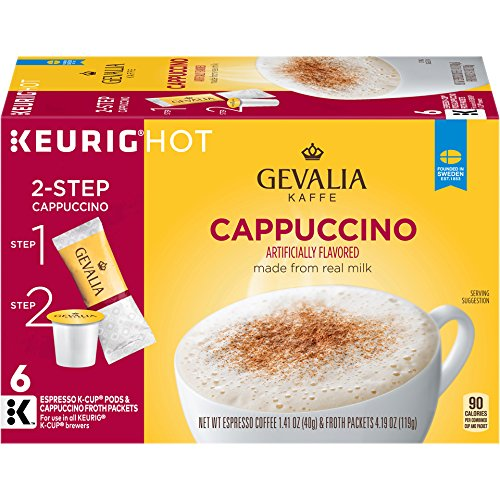 GEVALIA Cappuccino K-CUP Pods and Froth Packets - 6 count (Pack of 6) (Cappuccino Coffee Pods compare prices)