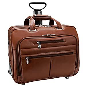 McKleinUSA OHARE 86534 Brown Leather Fly-Through(TM) Checkpoint-Friendly 17  Detachable Wheeled Laptop Case