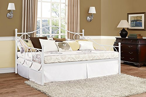 DHP Victoria Full Size Metal Daybed, White (Full Size Trundle Bed compare prices)