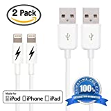 (2 Pack) Certified iPhone 5 & 6 Charging Cable Lightning Cord - Authentication Chip Ensures Fastest Charge and Sync For All Latest iPads iPods & IOS Devices (2 x 1 Meter/3.3 Feet)