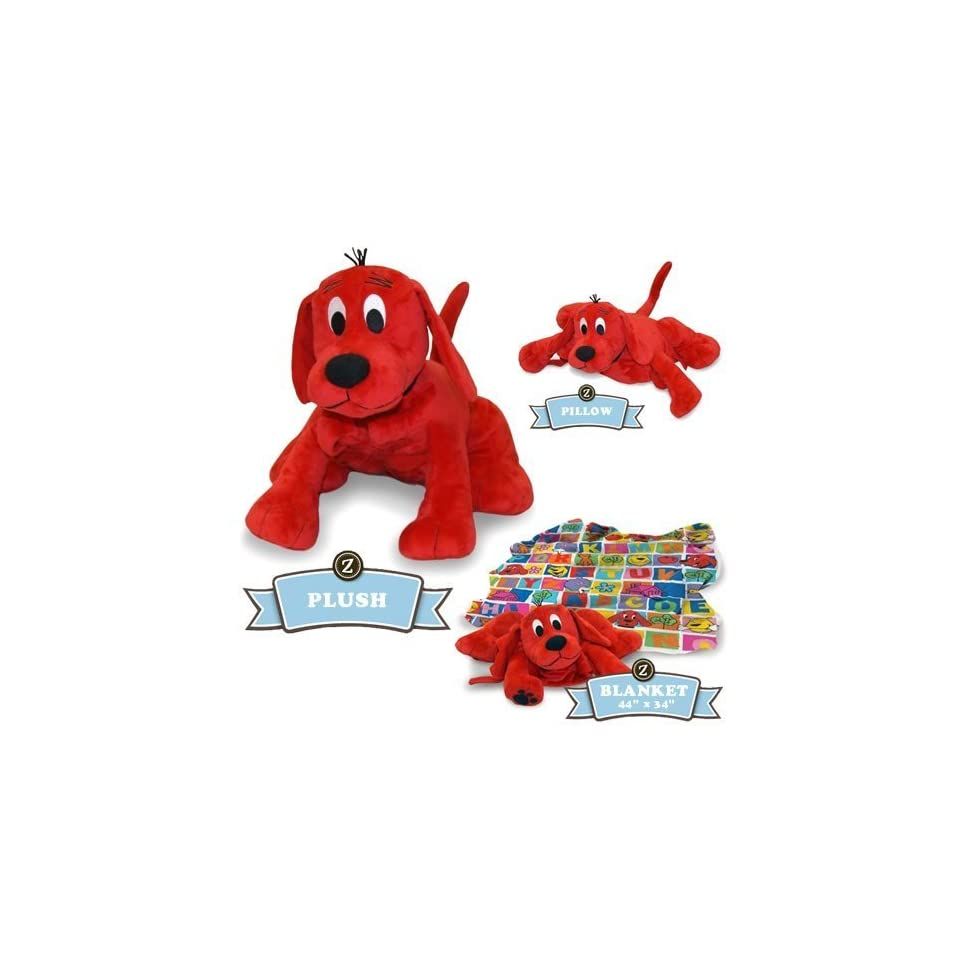 Zoobies Clifford, the Big Red Dog 18 Plush Toy, Pillow Animal & Blanket with Clifford Stickers