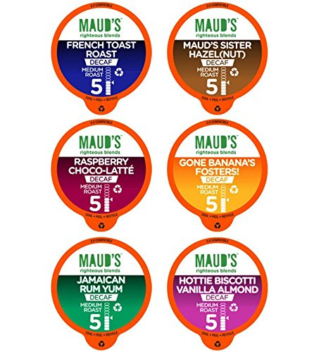 Maud's Gourmet Coffee Pods, Decaf Flavored Collection, 100 Single Serve Coffee Pods