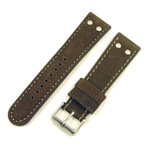 ZeitPunkt Watchband high-class, buffaloskin, in aviator appearance, chestnut-brown 20mm