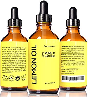 LEMON ESSENTIAL OIL ★ BIG 4 Oz ★ 100% Pure Cold Pressed from Real Lemons ★ Extremely Strong ★ SEE RESULTS OR MONEY-BACK ★ Premium Quality Essential Oil ★ Safe For Ingestion ★ With High Quality Dropper ★ Detox Your Body and Boost Fat Burnin