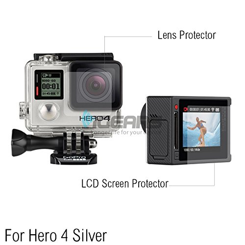 2Pcs Ultra Clear Lcd Screen Protector + 2Pcs Housing Lens Protector Film For Hero 4 Silver