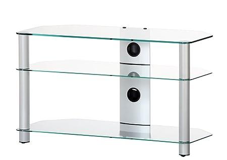 RO&CO M-903 TG - Mueble TV de 3 estantes. Vidrio transparente / Chasis de color gris. Ancho 90 cms.