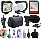 Must Have Accessories Package for Nikon DF D7200 D7100 D7000 D5500 D5300 D5200 D5100 D5000 D3300 D3200 D3100 D3000 D300S D90 D60 includes LED Video Light + Stabilizer + 64GB + Case + Microphone + HDMI