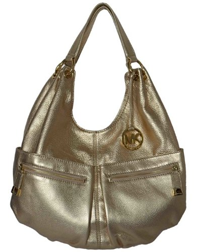 Michael Kors Pale Gold Pebbled Leather LAYTON Large Shoulder Tote Bag Handbag Purse