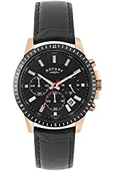 Rotary Men's Chronograph Black Genuine Leather and Dial Rose-Tone Case