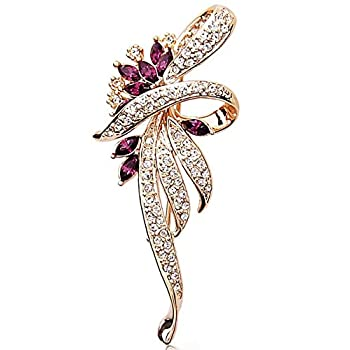 Merdia Created Crystal Brooches for Women Fancy Vintage Style Brooch Pin,Purple color