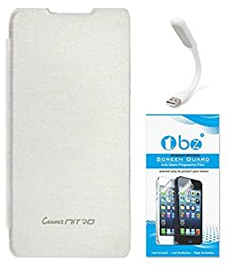 TBZ Flip Cover Case for Micromax Canvas Nitro A310 with Flexible USB LED Light Lamp and Tempered Screen Guard -White