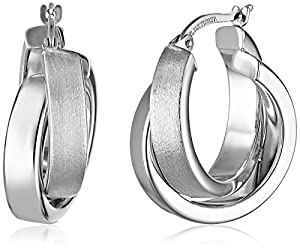 14k White Gold Satin and Polished Crossover Hoop Earrings